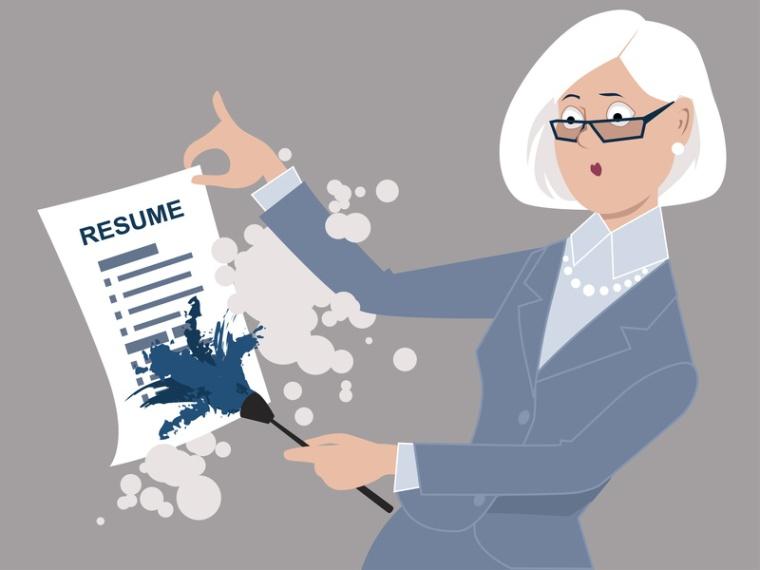 Senior woman dusting off her resume, returning to work, ESP 8 vector illustration